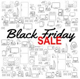 Fundo da venda de Black Friday Molde do disconto Ícones dos aparelhos eletrodomésticos Vários ícones do vetor da eletrônica Foto de Stock Royalty Free