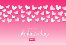 Fundo da venda do dia do ` s do Valentim com corações Vetor EPS 10 Imagens de Stock