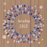 Fundo da venda do inverno com árvores e textura de madeira Foto de Stock