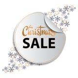 Fundo da venda do Natal com snowflackes e etiqueta ilustração stock
