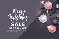 Fundo da venda do Natal e do ano novo para a promoção, Fotografia de Stock