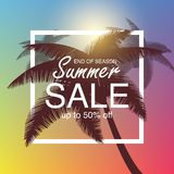 Fundo da venda do verão com palma Vector o fundo para a bandeira, cartaz, inseto, cartão, cartão, tampa, folheto Fotos de Stock Royalty Free