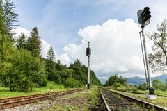 Fundo da viagem da estrada de ferro, paisagem do trem do trilho foto de stock