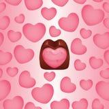 Fundo dado forma coração do praline do chocolate Fotografia de Stock Royalty Free