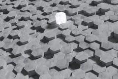 Fundo dado forma hex?gono da parede dos blocos de cimento Arte finala para a comparação da vitória ou a comparação da competição  ilustração do vetor