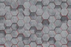 Fundo dado forma hex?gono da parede dos blocos de cimento Opini?o de perspectiva ilustra??o 3D fotografia de stock royalty free