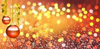 Fundo das bolas do Natal com efeitos brilhantes do inclinação e do borrão fotografia de stock royalty free