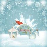Fundo das bolas do Natal da lanterna do pássaro do Xmas Imagens de Stock Royalty Free