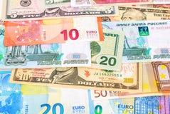 Fundo das cédulas euro-, dos dólares e do russi americanos Foto de Stock