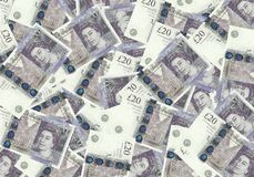 Fundo das cédulas 20 libra esterlina, conceito financeiro Economia dos ricos do sucesso do conceito Imagens de Stock Royalty Free