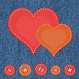 Fundo das calças de brim com corações Imagens de Stock