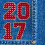 Fundo das calças de brim do ano novo feliz 2017 Imagens de Stock Royalty Free