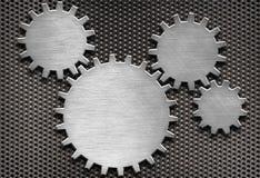 Fundo das engrenagens e das rodas denteadas do metal Imagens de Stock