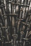 Fundo das espadas do cavaleiro do metal Fim acima Fotografia de Stock Royalty Free