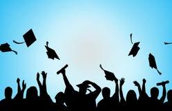 Fundo das estudantes universitário da celebração da graduação ilustração royalty free