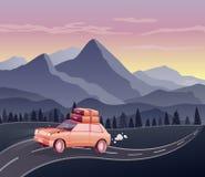 Fundo das férias com as silhuetas das montanhas Fotografia de Stock