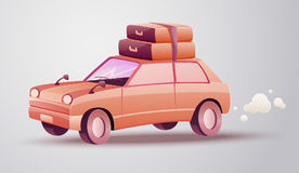 Fundo das férias com as silhuetas do mountainsVacation que viajam pelo carro Foto de Stock
