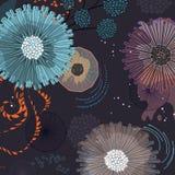 Fundo das flores do conto de fadas da fantasia Tampa de sonho botânica moderna do scarpbook fotos de stock royalty free