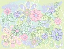 Fundo das flores e dos rolos Imagem de Stock