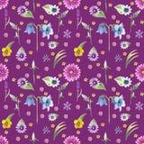 Fundo das flores selvagens Teste padrão sem emenda Aquarela do fundo das flores selvagens ilustração do vetor