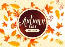 Fundo das folhas de outono com venda e detalhes relativos à promoção ilustração stock