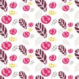Fundo das folhas e de maçãs coloridas Teste padrão sem emenda retro bonito Imagens de Stock Royalty Free