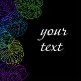 Fundo das folhas tropicais com quadro para o texto no fundo preto Imagens de Stock Royalty Free