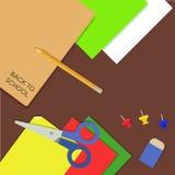 Fundo das fontes de escola no estilo liso ilustração stock
