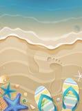 Fundo das férias de verão com pegadas Fotografia de Stock Royalty Free