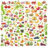Fundo das frutas e verdura Coleção grande das frutas e legumes isoladas no fundo branco fotografia de stock royalty free