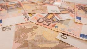 Fundo das notas de banco Cédulas do Euro 50 cinqüênta Imagens de Stock