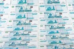 Fundo das notas de banco dos rublos Imagens de Stock