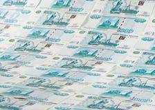 Fundo das notas de banco dos rublos Fotos de Stock