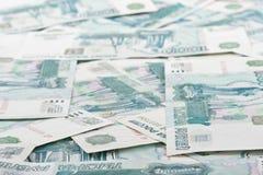Fundo das notas de banco dos rublos Fotos de Stock Royalty Free