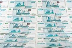 Fundo das notas de banco dos rublos Foto de Stock Royalty Free
