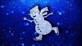 Fundo das part?culas do ?cone piscar do elemento do boneco de neve do ornamento do Natal