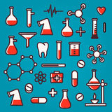 Fundo de ícones científicos com reflexão Imagens de Stock Royalty Free