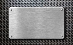Fundo de aço escovado da placa de metal com rebites Fotografia de Stock