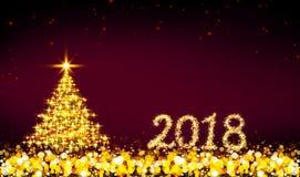 Fundo de 2018 anos e árvore de Natal novos felizes Fotos de Stock