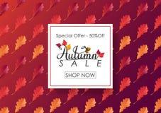 Fundo de Autumn Sale com folhas Imagem de Stock