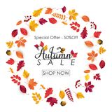 Fundo de Autumn Sale com folhas Foto de Stock