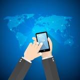 Fundo de Avstract, mão que guarda o conceito do telefone celular de uma comunicação Fotografia de Stock Royalty Free