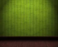 Fundo de bambu do quarto com assoalho de madeira Imagem de Stock