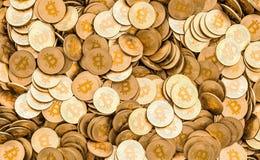 Fundo de Bitcoins, 3D ilustração do vetor