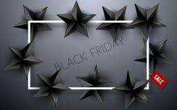 Fundo de Black Friday com estrelas pretas Ilustração do vetor ilustração stock