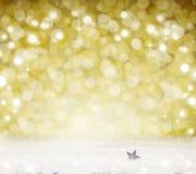 Fundo de Bokeh do Natal e neve branca Fotografia de Stock Royalty Free