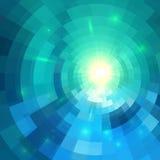 Fundo de brilho azul abstrato do túnel do círculo ilustração do vetor