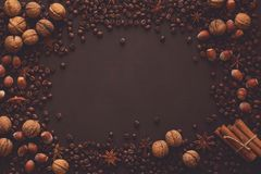 Fundo de Brown com os feijões das nozes, das avelã, do anis, da canela e de café Imagens de Stock Royalty Free