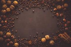 Fundo de Brown com os feijões das nozes, das avelã, do anis, da canela e de café Foto de Stock Royalty Free