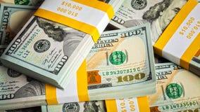Fundo de 100 cédulas novas dos dólares americanos Fotografia de Stock